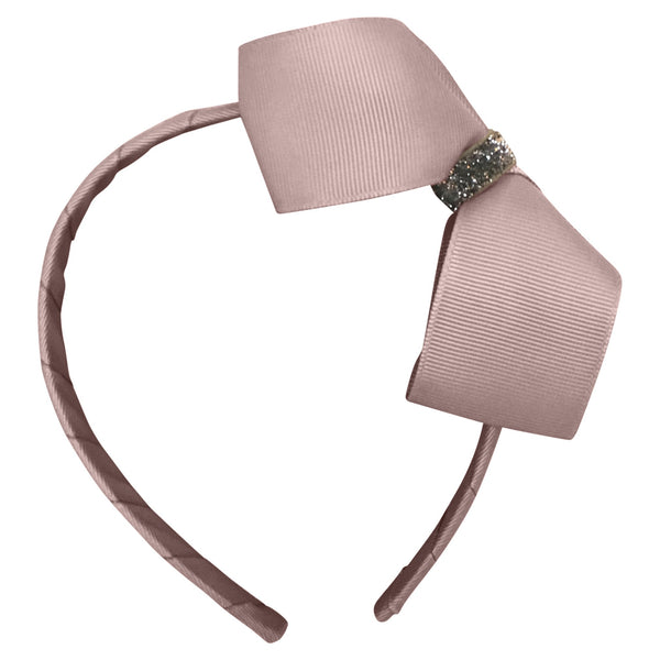 Large Boutique Bow Hairband - Powder Pink Glitter