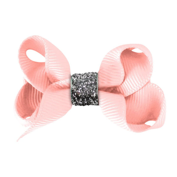 Small Boutique Bow Clip - Powder Pink Glitter