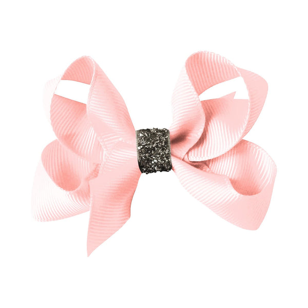 Medium Boutique Bow Clip - Powder Pink Glitter