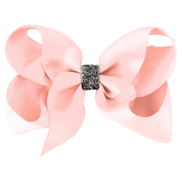 Large Boutique Bow Clip - Powder Pink Glitter