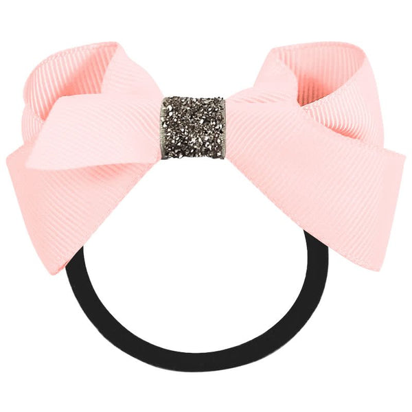 Medium Boutique Bow Elastic Band - Pink Glitter