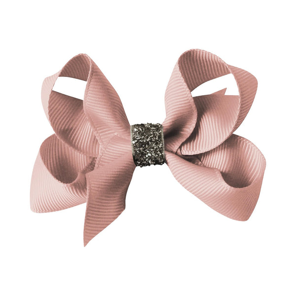 Medium Boutique Bow Clip - Antique Mauve Glitter