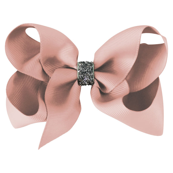 Large Boutique Bow Clip - Antique Mauve Glitter