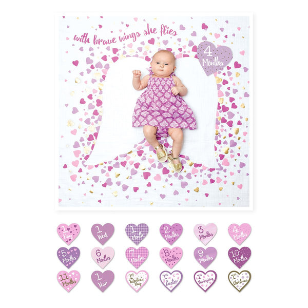 Baby's First Year Blanket and Cards Set - With Brave Wings She Flies