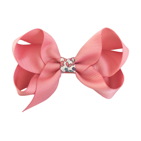 Medium Boutique Bow Clip - Dusty Rose with Liberty