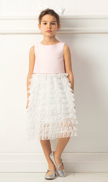 Pink and Ivory Lace Dress
