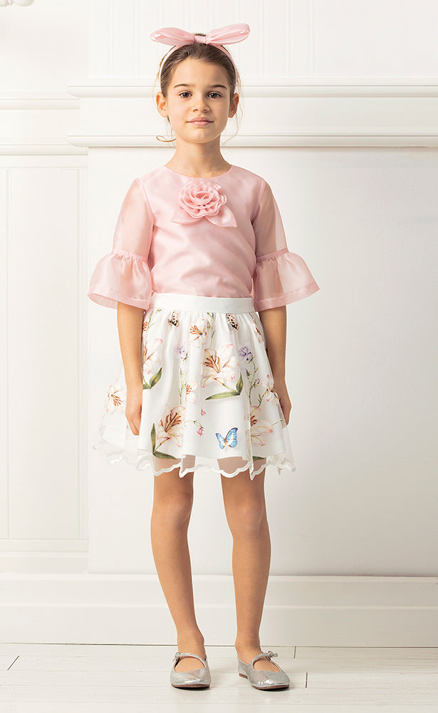 Lily and Butterfly Skirt and Pink Top