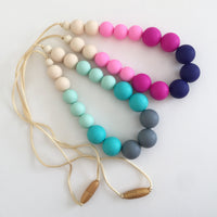 Teething Necklace - Cream, Mint, Teal, and Grey Big Beads