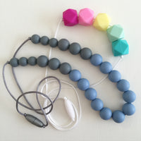 Teething Necklace - Grey and Blue
