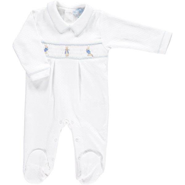 Peter Rabbit Smocked Footsie Pima - White/Blue