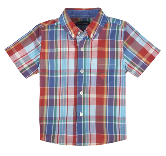 Red & Teal Short Sleeve Shirt