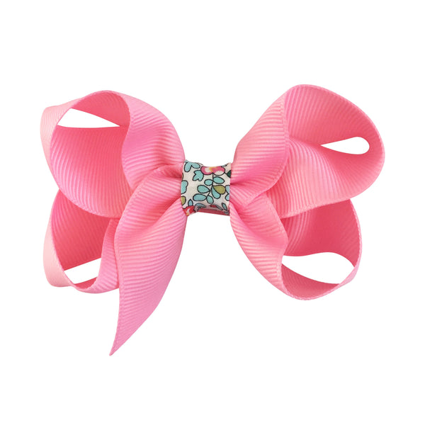 Medium Boutique Bow Clip - Sherbet with Liberty
