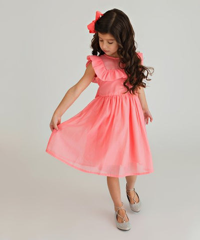 Bow Eid Dress - Coral