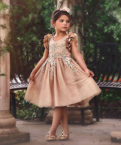Floral Lace Eid Dress - Gold