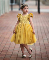 Floral Lace Eid Dress - Mustard