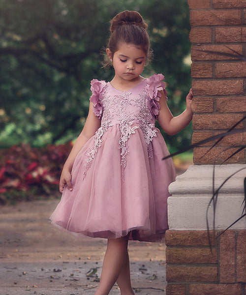 Floral Lace Eid Dress - Rose