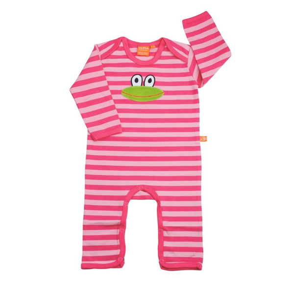 Jumpsuit with Frog - Striped Pink
