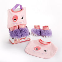 Chomp & Stomp Monster Bib and Booties Set - Pink