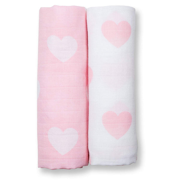 2-Pack Swaddle - Pink Hearts