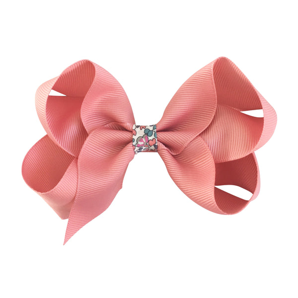 Large Boutique Bow Clip - Dusty Rose with Liberty