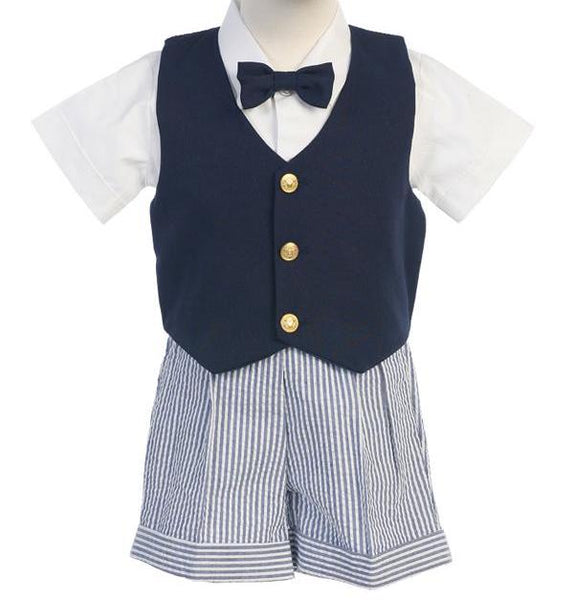 Navy Vest and Seersucker Short Set