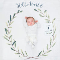 Baby's First Year Blanket and Cards Set - Hello World