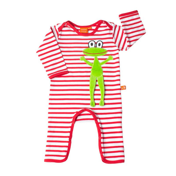 Jumpsuit with Frog - Red/White