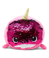 Pink Bubblegum the Narwhal Flip-Sequin Plush Toy