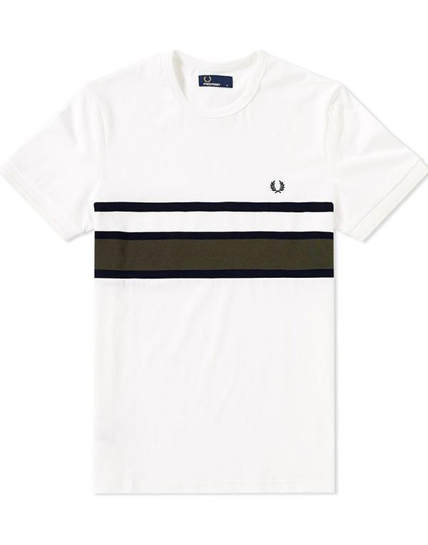 Fred Perry Bomber Stripe Insert T-Shirt hos Stillo
