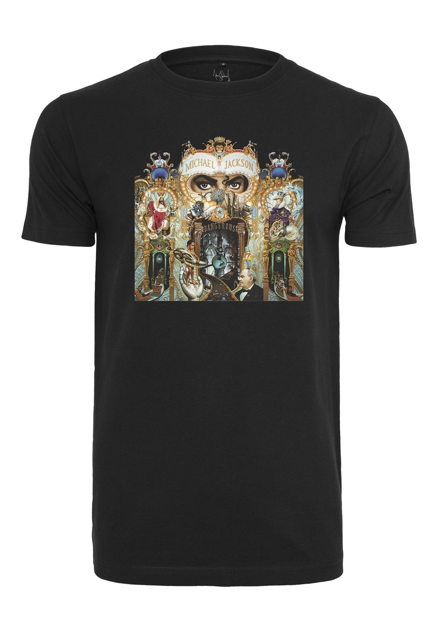 "Michael Jackson Dangerous T-Shirt - Michael Jackson Dangerous T-Shirt 100% Bomuld/Cotton - Style No. MC437 - Farve/Color: Black Fans of Michael Jackson will rejoice, wearing this eye-catching tee. Present proudly the cover of the album Dangerous"" on your chest and show the world that you kn"