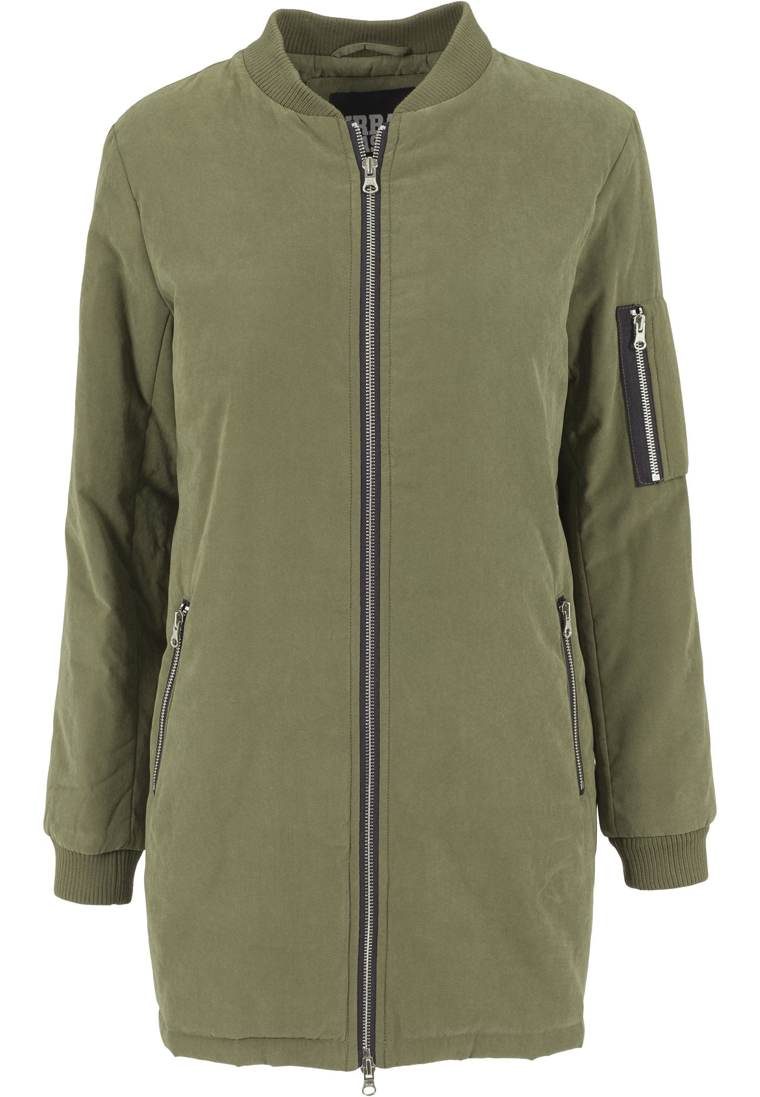 Urban Classics Ladies Peached Long Bomber Jacket - Urban Classics Ladies Peached Long Bomber Jacket 90% Polyester 10% Polyamid, Peached Twill, Bomber jackets er den nye new trend - og nu kan du få den i en lang version. Ladies Peached Long Bomber Jacket fra URBAN CLASSICS har en komfortabel fit, og som de