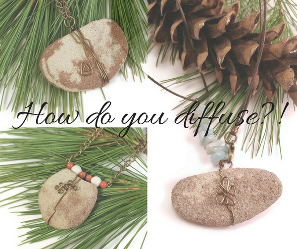Michigan sandstone essential oil diffuser necklaces, lake superior stone aromatherapy jewelry