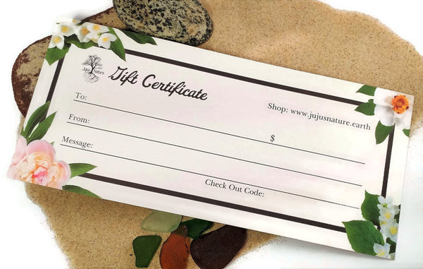 Jujus Nature Jewelry Gift Certificate Option, Online Jewelry Shopping