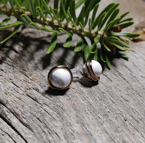 howlite stone stud earrings antique Brass wire wrapped