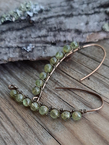 Peridot Stone Drop Earrings / August Birthstone