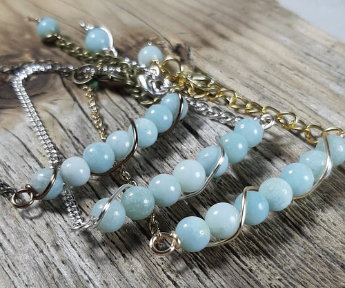 natural amazonite stone bracelets, silver, gold, antique brass chain link