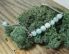 polished amazonite stone beaded bracelet silver chain link with extender attached