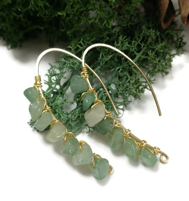 green aventurine stone earrings, made to order earrings, natural stone jewelry