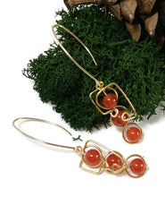 energy people earrings, 24k gold earrings, carnelian stone