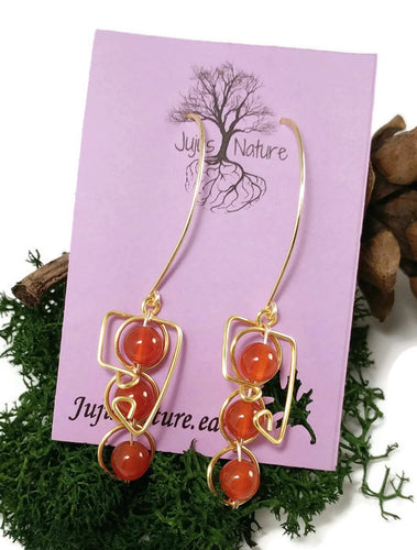 Carnelian Stone earrings, 24k gold earrings, wire wrapped design