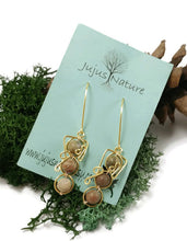 natural stone dangle earrings, nature inspired earrings, jasper earrings