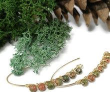 natural stone earrings, 24k gold earrings, unakite stone