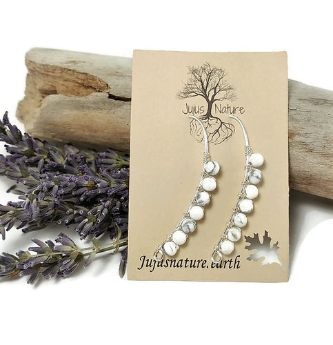 natural howlite stone earrings, sterling silver drop style earrings