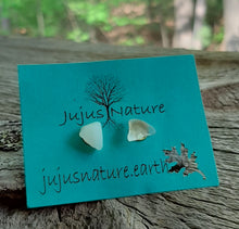 lake superior beach glass gold stud earrings