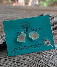 michigan beach glass earrings gold stud posts