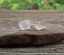 michigan beach glass stud earrings silver studs