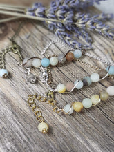 amazonite stone beaded chain bracelet, silver, gold, antique brass