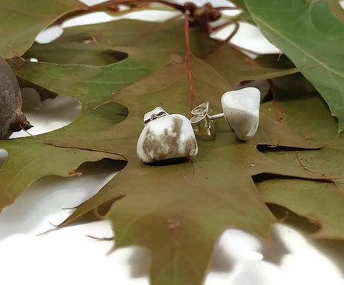 Michigan slag stone earrings, natural jewelry
