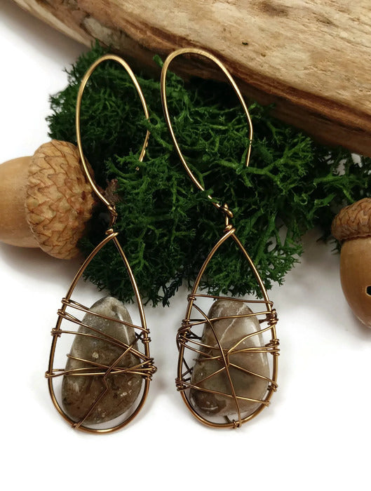 Michigan petoskey stone coral earrings, fossilized coral earrings