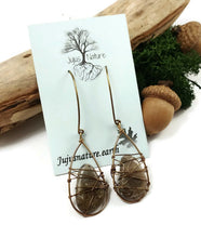 handmade polished beach stone coral earrings, antique brass wire wrapped earrings